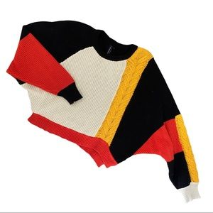 🍋 Moon & Madison Geometric Cropped Knit Sweater